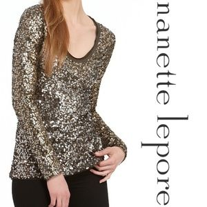 Nanette Lepore Muse Green Sequin Top Long Sleeve